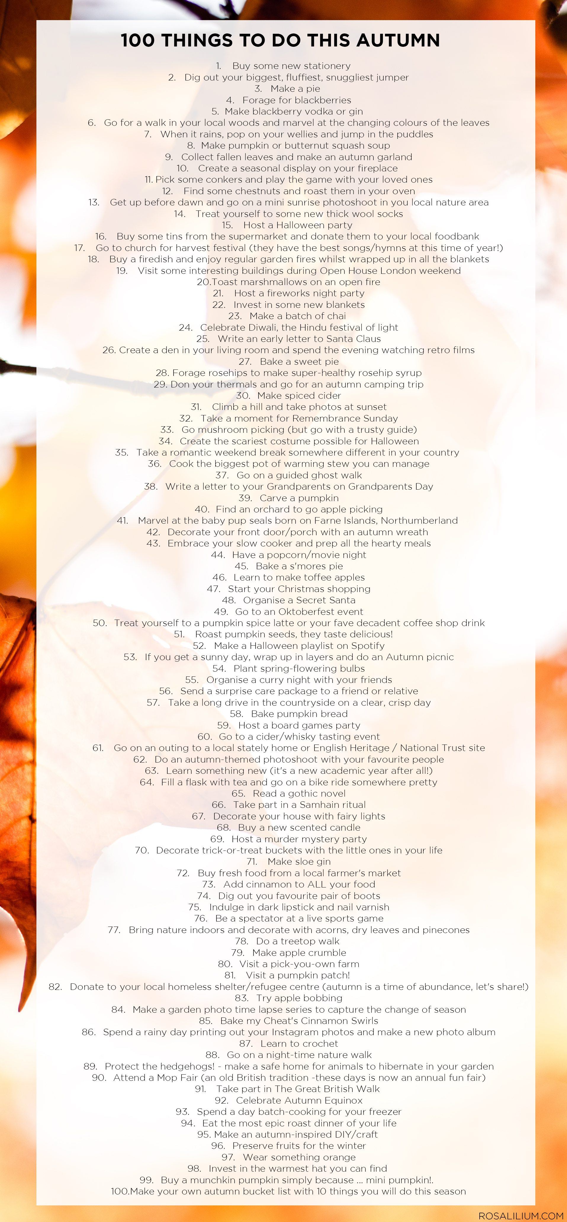 100 Things To Do This Autumn Fall Printable