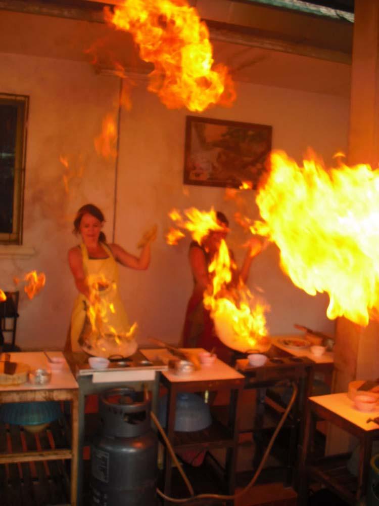 setting stir fry on fire