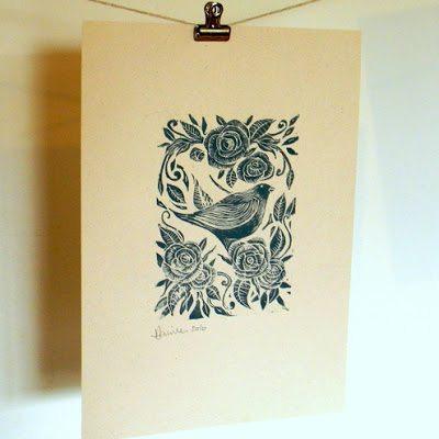 Mangle Prints Rose and Bird 2