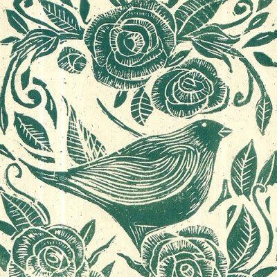 Mangle Prints Rose and Bird