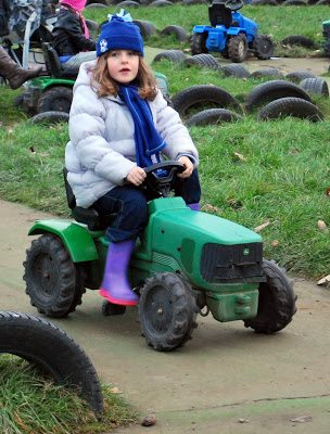 Charlotte on tractor