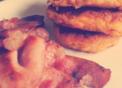 Sweet Potato Cakes and Bacon