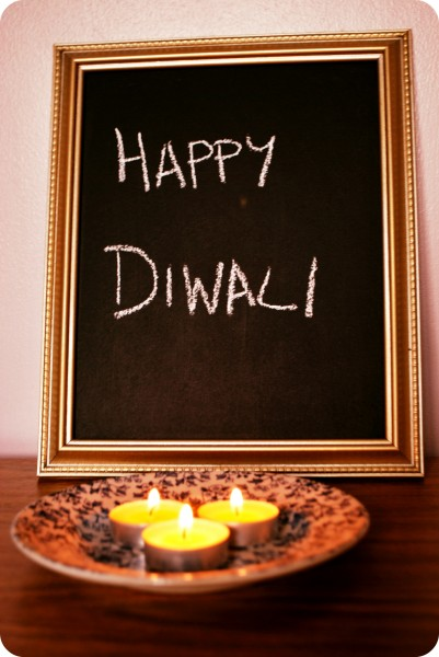 Happy Diwali and candles
