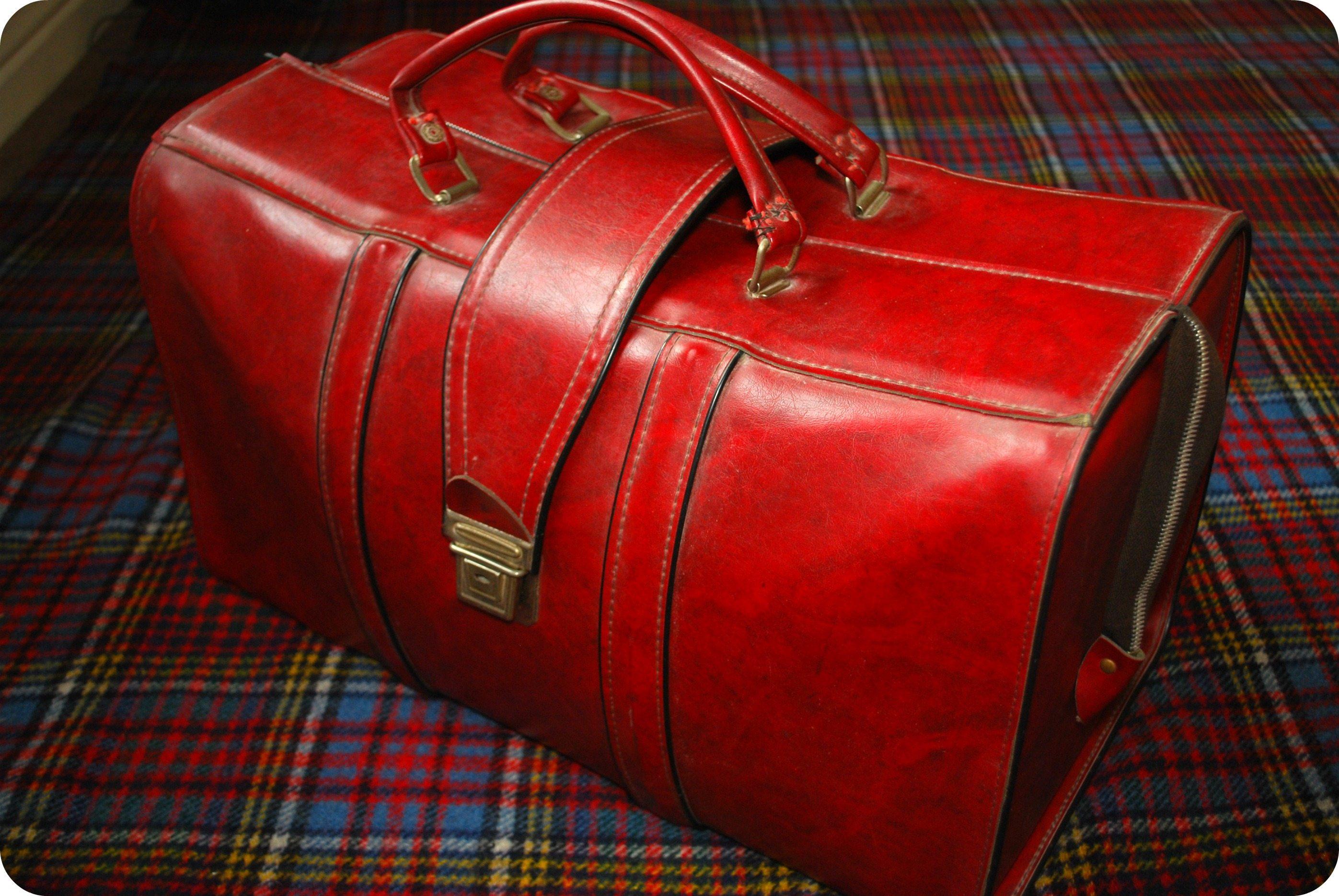 vintage red travel bag