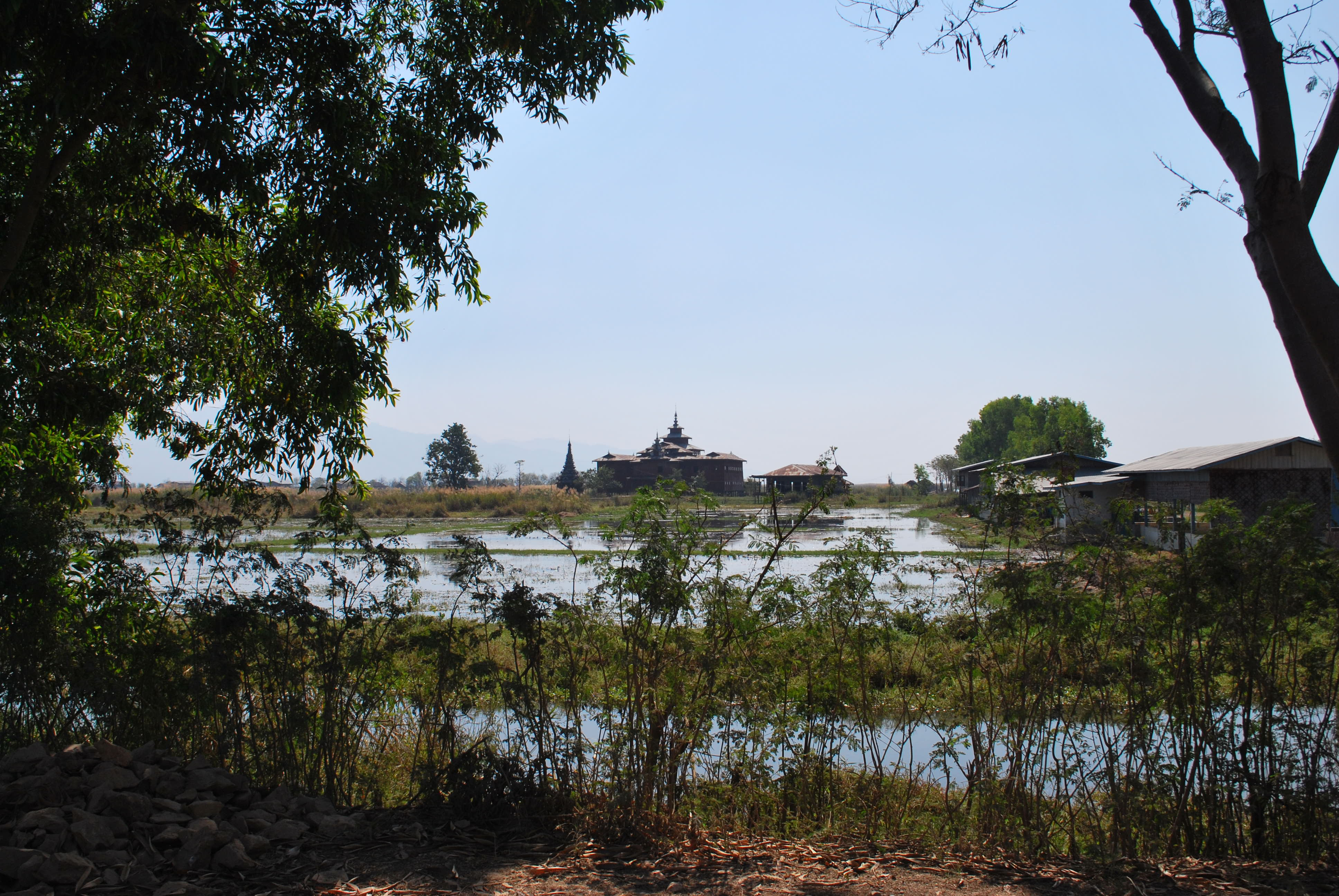 temple monastery in the distance