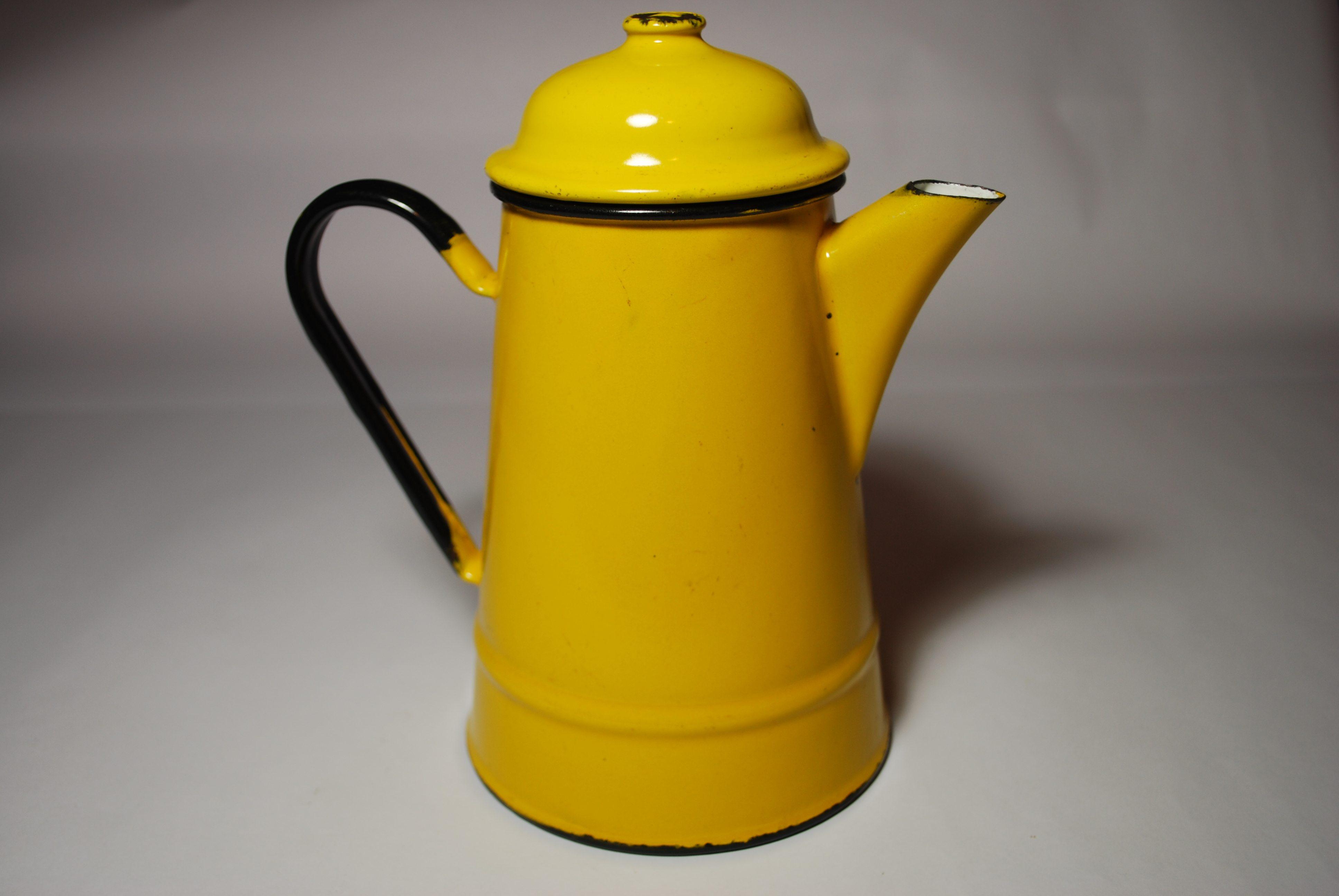 yellow enamel coffee pot