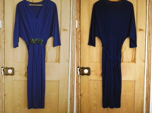 blue 70s disco dress