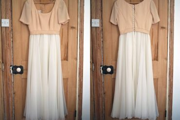 cream and white vintage dress
