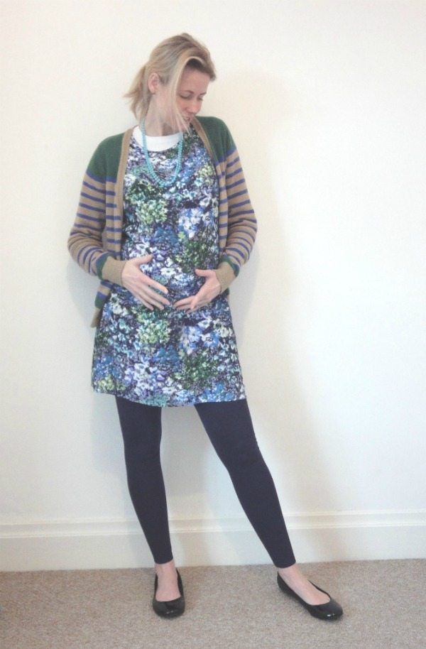floral and stripes baby bump