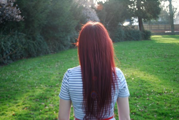 back of red hair