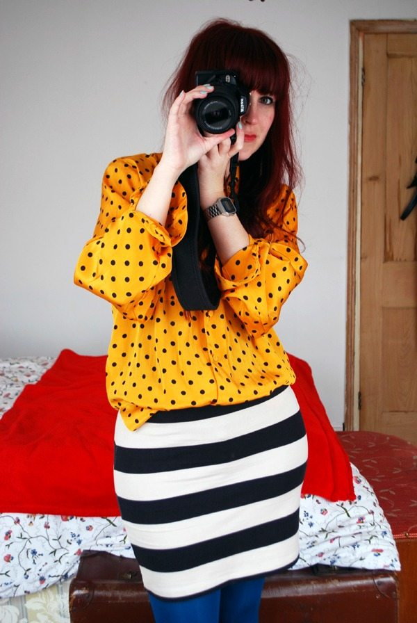 spots and stripe outfit