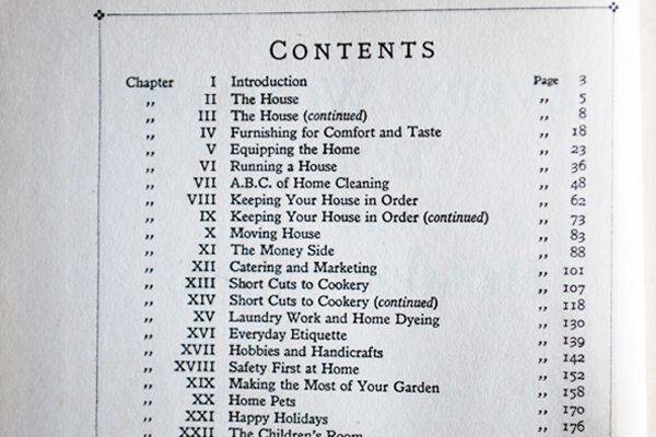 contents page for every woman's book of home-making