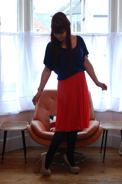 coral and cobalt outfit