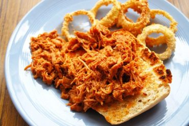 pulled chicken and baked onion rings