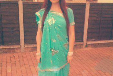 mint and silver sari