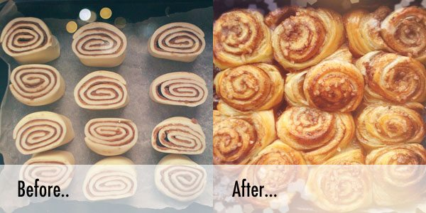 before and after making cinnamon swirls