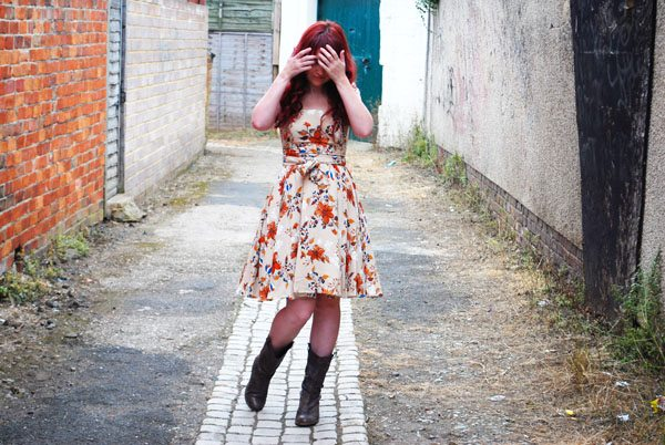 autumn floral dress and boots
