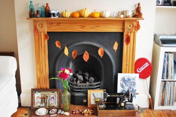 autumn fireplace and leaf bunting