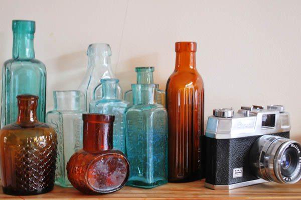 vintage bottles and camera