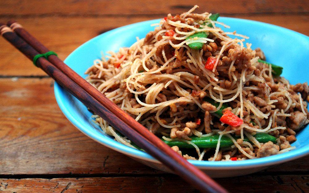 Pork and Peanut Spicy Thai Noodles
