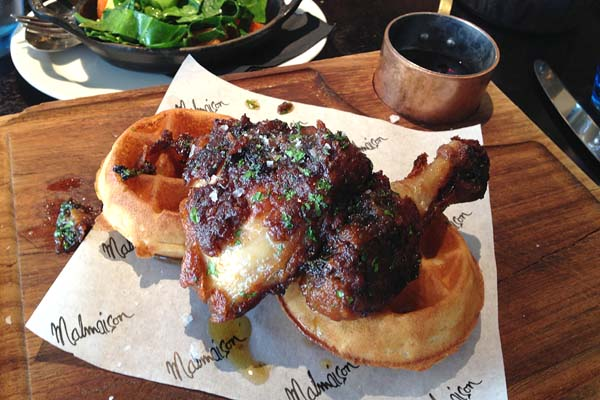 Fried Chicken with Waffles and Maple Syrup