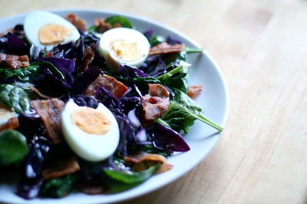 Warm Winter Salad with Bacon Eggs Cabbage and Spinach