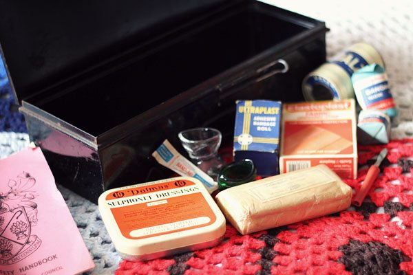 Inside 70s Vintage First Aid Kit