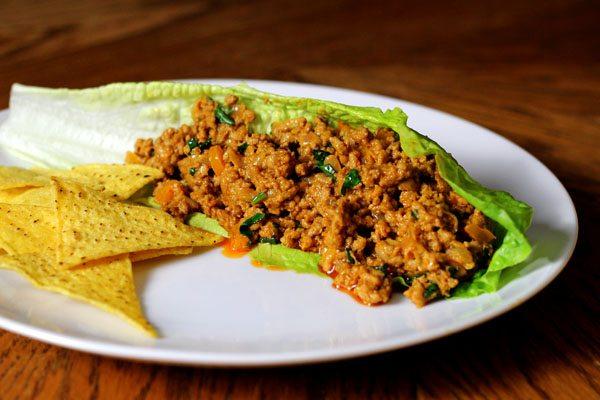 Spicy Mexican Pork in Lettuce Tacos