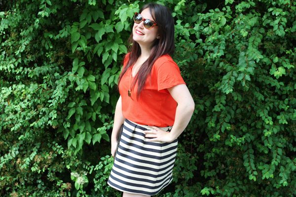 Red Top and Breton Skirt