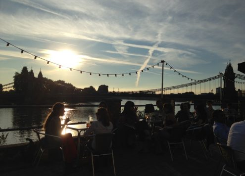 Drinks at sunset by the Thames