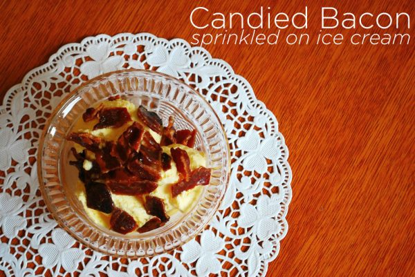 Candied Bacon Sprinkled on Ice Cream