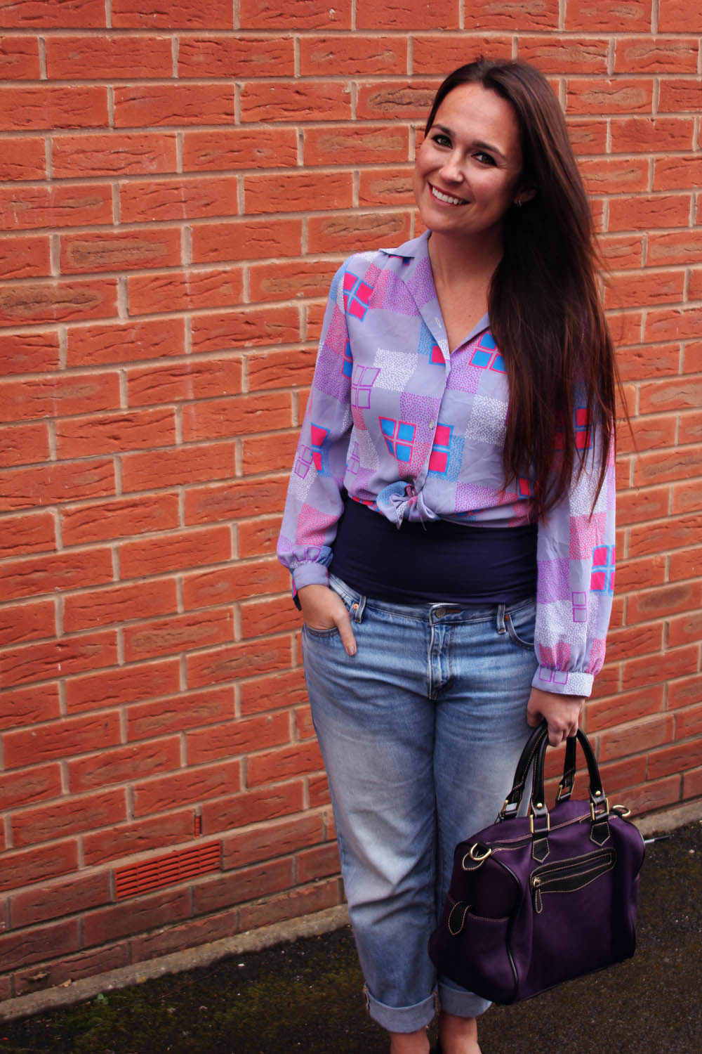 Vintage Blouse and Purple Bag
