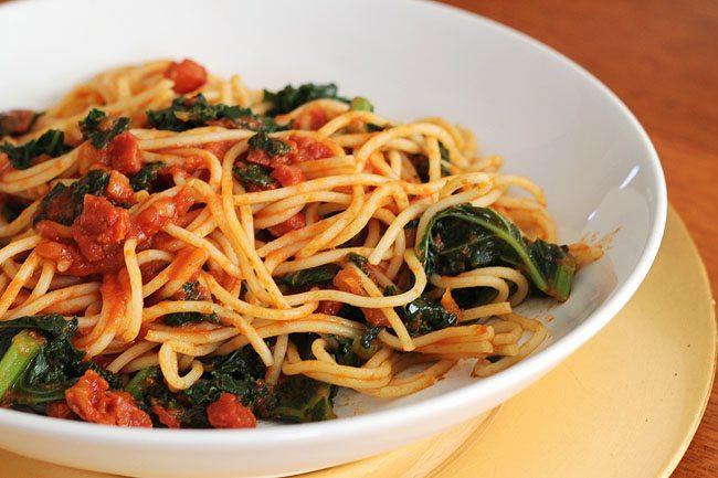 Chorizo and Kale Spaghetti
