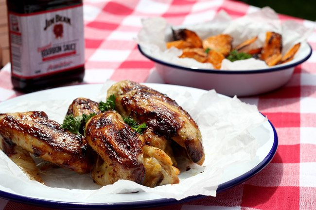 Baked Chicken Wings with Jim Beam Barbecue Sauce