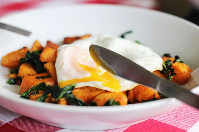 Sweet Potato and Kale Hash with Fried Egg