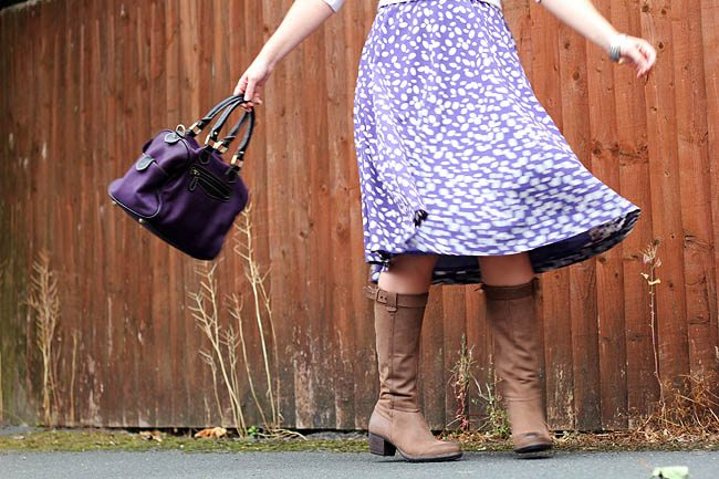 Brown Boots with Purple Skirt