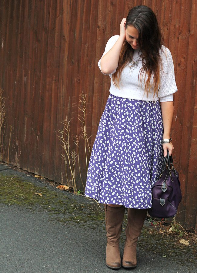 White and Purple Outfit with Brown Boots