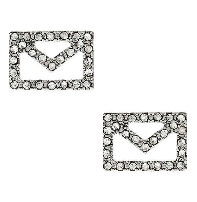 envelope stud earrings