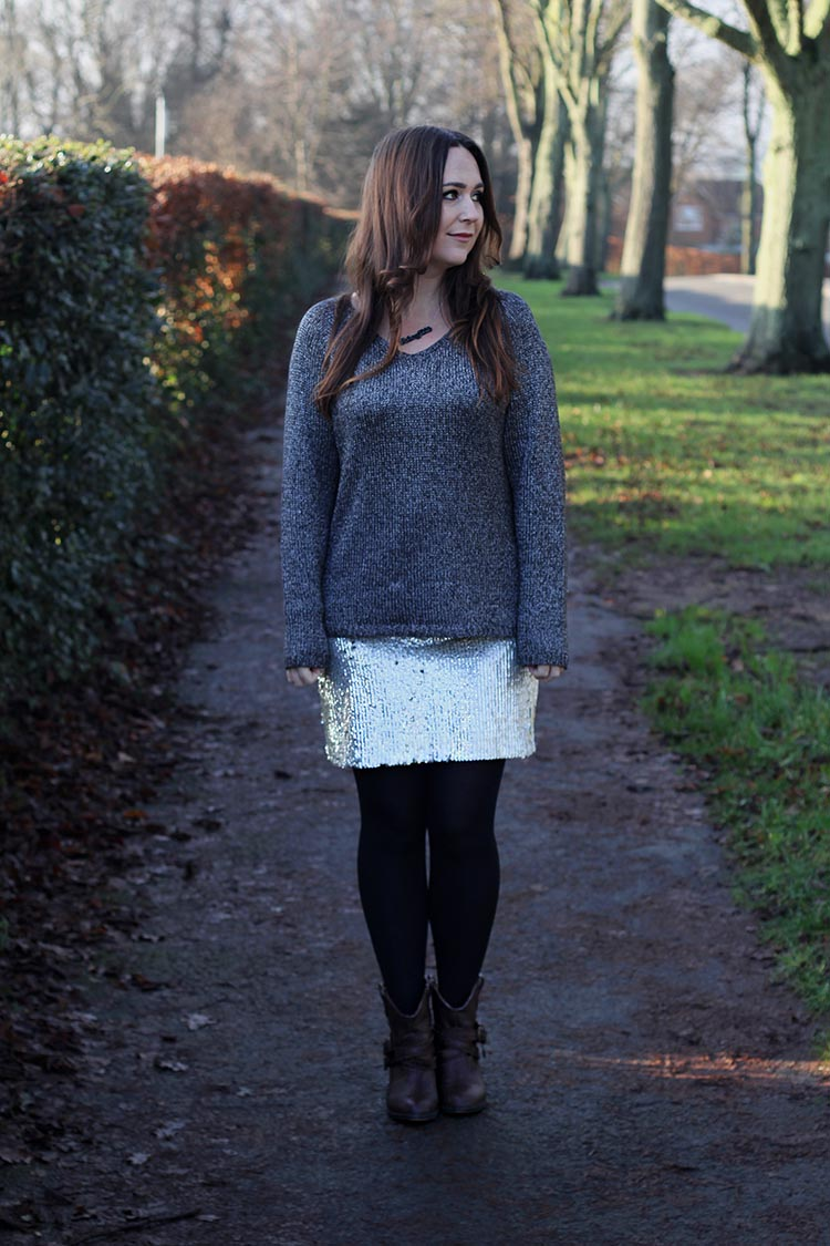 Sequin skirt and Grey Jumper Winter Outfit