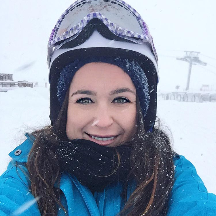 skiing in a blizzard
