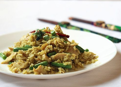 Thai Green Curry Fried Rice with Blue Dragon