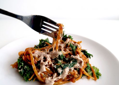 Sweet Potato Noodles With Kale and Satay Sauce