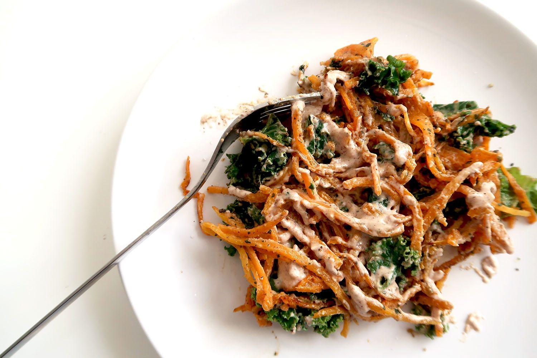 Vegan Vegetarian Option Sweet Potato Noodles Peanut Sauce