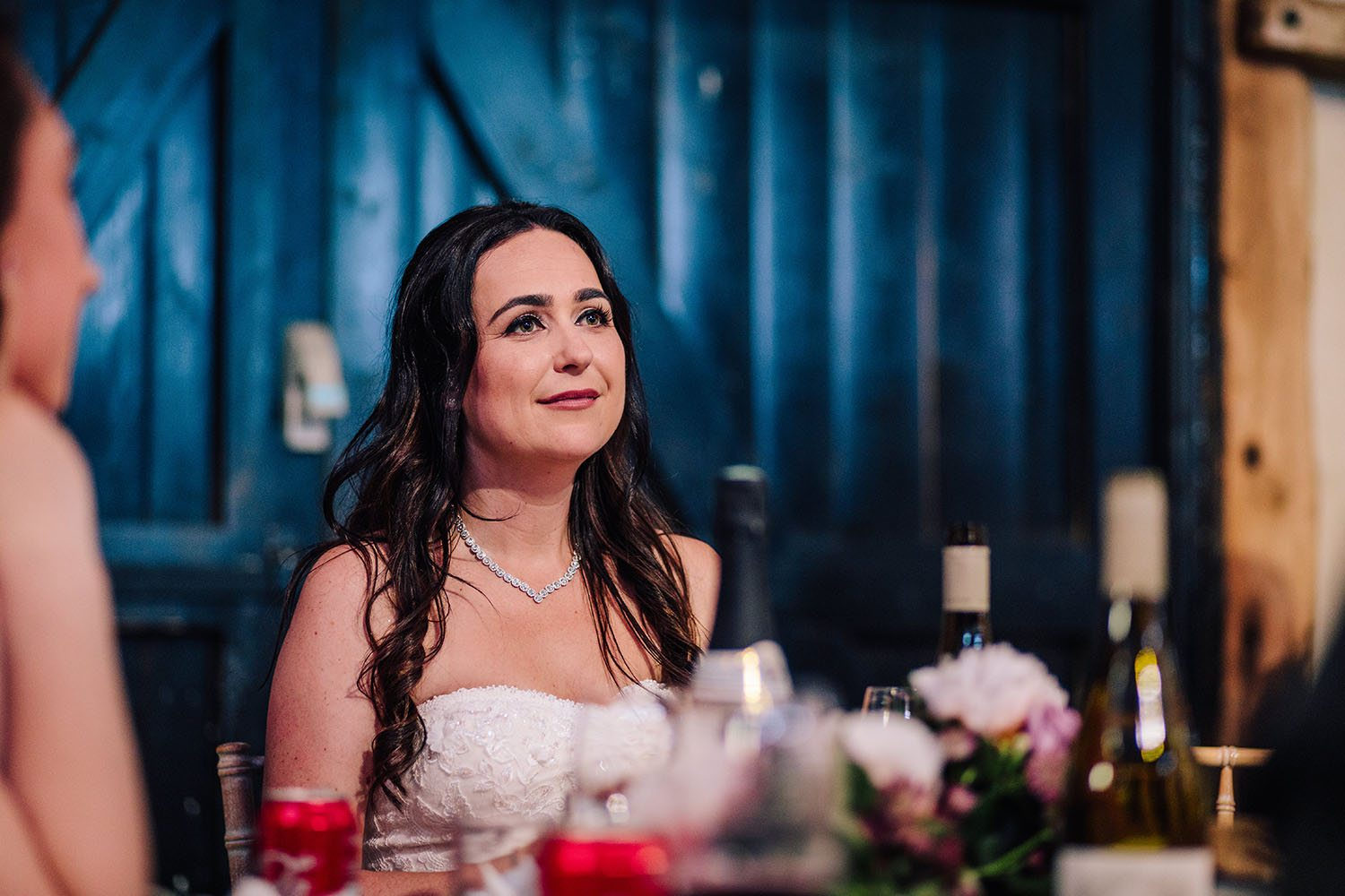 Bride listening to speeches