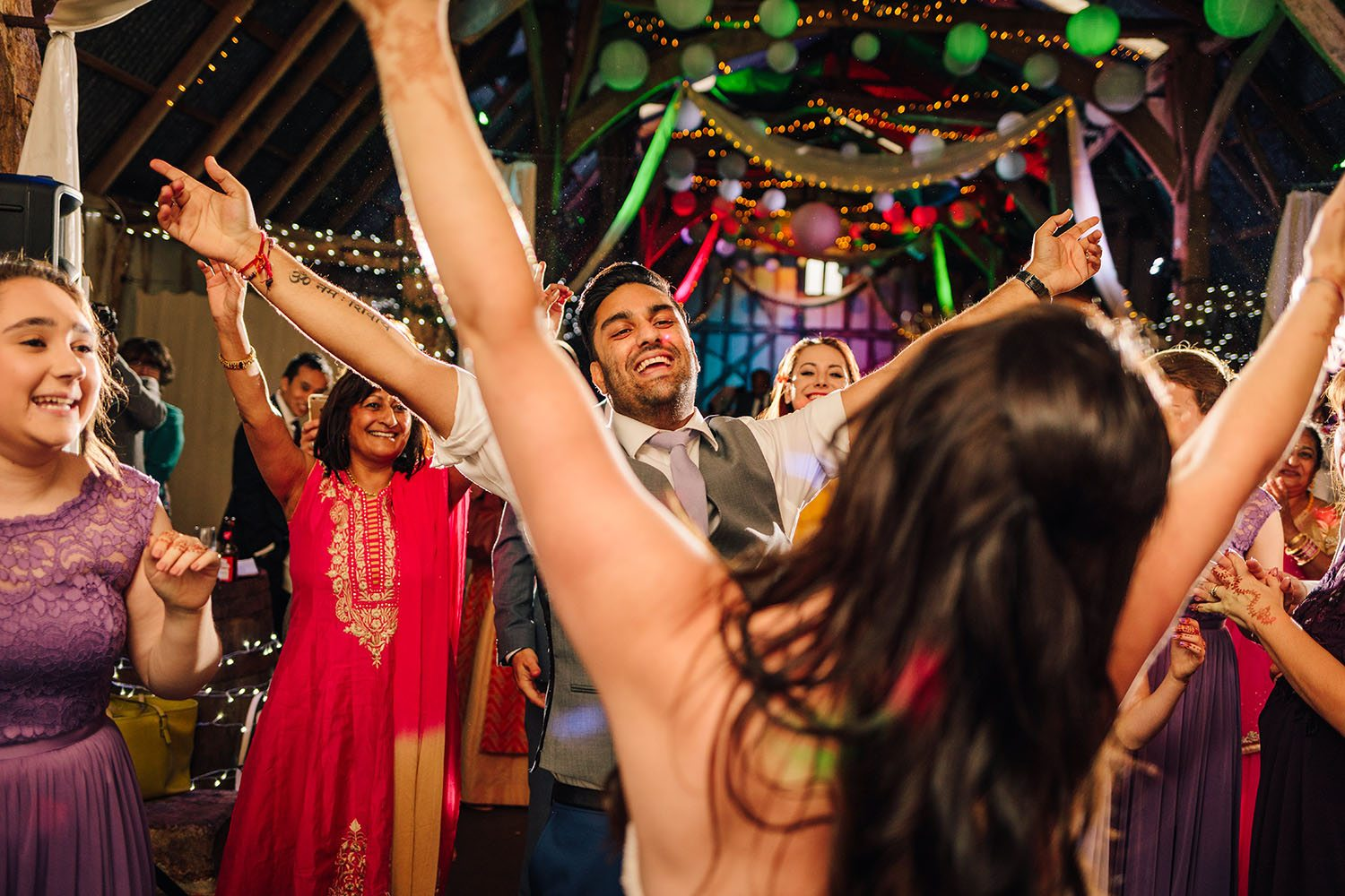 Hands in the air to first dance