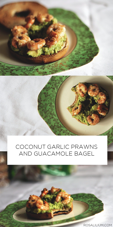 Coconut Garlic Prawns and Guacamole Bagel