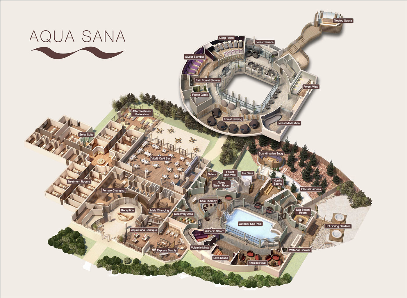 Map of Aqua Sana Spa Sherwood Forest