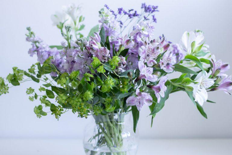 Purple White Green Flowers in Vase