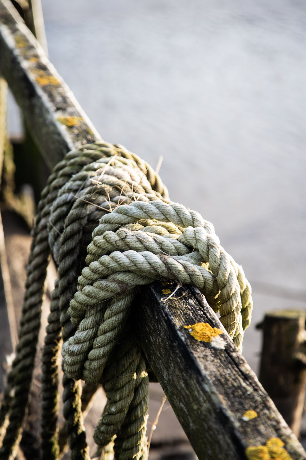 Details of rope wrapped around wood