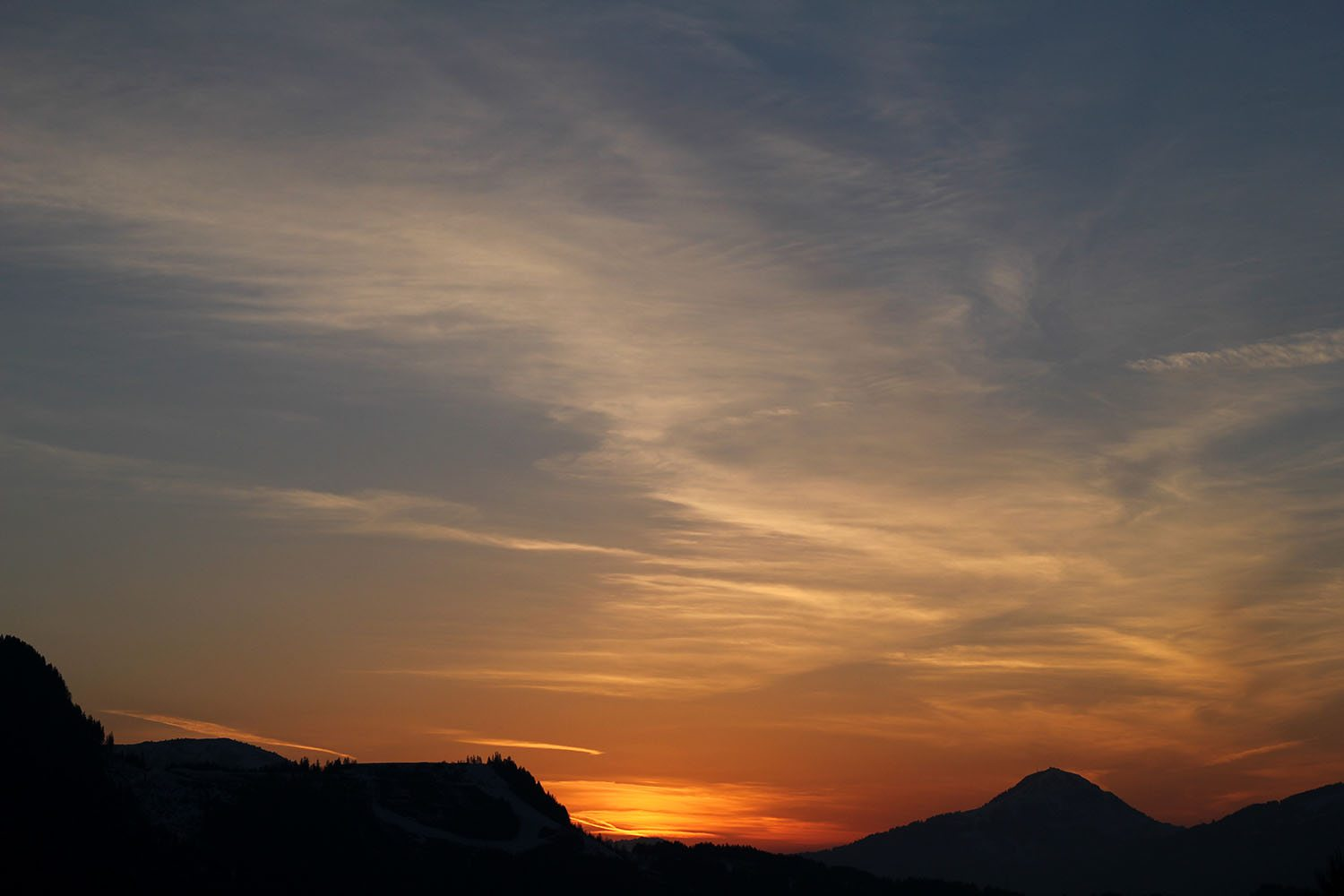 sunset over kitzbuhel
